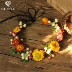 CC <b>Wedding</b> Engagement <b>Jewelry</b> Crown Sunflower Garland Hairbands Hair Accessories For Bride Seaside Vacation Forest Style mq034
