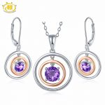 Hutang Stone Jewelry Sets Natural Gemstone Amethyst Solid 925 Sterling <b>Silver</b> <b>Earring</b> Pendant Fine Fashion Jewelry February Gift