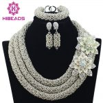 Big Full Handmade Braid Beads African Jewlery Set <b>Silver</b> Nigerian Beads Necklace Bridal Lace Jewelry Sets Free Shipping ABF359