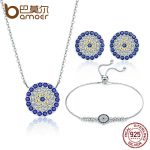 BAMOER Authentic 925 Sterling <b>Silver</b> Round Blue Eyes Clear CZ Tennis <b>Bracelets</b> Necklaces Earrings Women Bridal Jewelry Sets