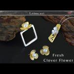 Lotus Fun 925 Sterling <b>Silver</b> Pearl Clover Flower Bridal Wedding Jewelry Set for Women Rings/Stud <b>Earrings</b>/Necklaces Pendants