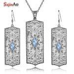 925 Sterling <b>Silver</b> Costume Jewelry Sets Nigerian Wedding Women's Blue Aquamarine Bridal Retro Long Pendant/<b>Earrings</b>