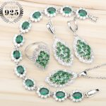 New <b>Silver</b> 925 Green Zircon Bridal Jewelry Sets Earrings with Stones/Pendant/Necklace/Rings/<b>Bracelets</b> For Women Free Gift Box