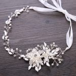 Duolafine Gold&Silver Color <b>Handmade</b> Crystal Pearl Flower Bridal Headband tiara Wedding Headpiece Hair <b>Jewelry</b> Accessories FD088