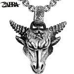 ZABRA Pure 925 <b>Sterling</b> <b>Silver</b> 46*36mm Big Vintage Bull Pendant Biker Men Necklace Punk Retro Men <b>Sterling</b> <b>Silver</b> Gothic <b>Jewelry</b>