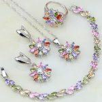 Multicolor 925 <b>Silver</b> Jewelry Set Mystic Zircon Jewelry Sets For Women Wedding Necklace/Earrings/<b>Bracelet</b>/Pendant/Ring