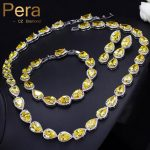 Pera Classic Wedding Party Costume <b>Jewelry</b> Sets Big Pear Cut Yellow Stone Choker <b>Necklace</b> Earrings And Bracelets For Women J205