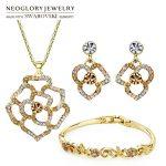 Neoglory MADE WITH SWAROVSKI ELEMENTS Rhinestone <b>Jewelry</b> Set Flower Style Necklace & Earring & Bracelet For Spring Lady Classic