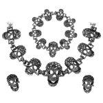 Yacq Skull Necklace <b>Bracelet</b> Earrings Sets Women Biker Goth Skeleton Fashion Bling Jewelry <b>Silver</b> Gun Color W Crystal Gifts Her