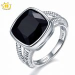 Hutang Stone <b>Jewelry</b> 6.5ct Natural Gemstone Black Onyx Solid 925 <b>Sterling</b> <b>Silver</b> Wedding Rings Fine <b>Jewelry</b> For Women Men Gift