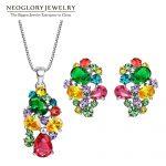 Neoglory Zinc Alloy Colorful Austrian Rhinestone <b>Fashion</b> Necklaces Earrings <b>Jewelry</b> Sets Wedding Charm 2017 New Indian Gifts