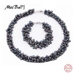 [MeiBaPJ] 925 <b>Silver</b> 100% White Natural Freshwater pearl <b>Jewelry</b> Sets Real pearl Necklace Bracelet <b>Jewelry</b> Sets for women