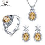 Double-R Natural Diamond Bridal Jewelry Sets Women 4.1 ct Real Citrine Ring <b>earring</b> Pendant Necklace 925 <b>Silver</b> Wedding Jewelry
