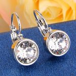 BELLA Fashion Chic 4 Colors Round Cubic Zircon Bridal Earrings Sparkling <b>Wedding</b> Earrings For Women Party <b>Jewelry</b> Valentine Gift
