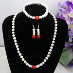Gray pearl red chalcedony necklace sets 7-8mm necklace 18″bracelet 7.5″ earring charming women <b>jewelry</b> <b>making</b> design