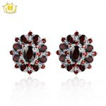 Hutang Stone Jewelry Natural Gemstone Black Garnet Solid 925 Sterling <b>Silver</b> <b>Earrings</b> Fine Fashion Jewelry For Women's Gift New