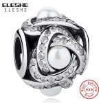 European 100% 925 Sterling Silver Love Knots Charm, Clear CZ Pearl Beads Fit Original Charms Bracelets for Women <b>Jewelry</b> <b>Making</b>
