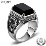 MetJakt Natural Obsidian Ring with Olive Branch Pattern Solid 925 <b>Sterling</b> <b>Silver</b> Rings for Men Vintage Thai <b>Silver</b> <b>Jewelry</b>