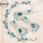 Green Cubic Zirconia Silver 925 Bridal <b>Jewelry</b> Sets Women Costume <b>Jewelry</b> Rhinestone Earrings Bracelets <b>Necklace</b> Set Gift Box