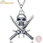 BONLAVIE 925 Pure <b>Sterling</b> <b>Silver</b> <b>Jewelry</b> Skull Two Swords Pendant Necklace Send Male Friend Fine Fashion Gift Sales Promotion