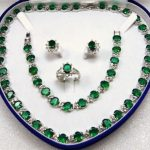 Jewelry green CRYSTAL Necklace Bracelet <b>Earring</b> +box