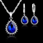 YAAMELI Royal Blue Water Drop Pendants <b>Necklaces</b> Earring Set For Women Wedding 925 Sterling Silver Cubic Zirconia <b>Jewelry</b> Sets