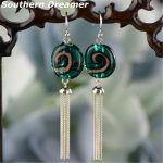 Fashion Vintage Colored Glaze 925 Sterling <b>Silver</b> Tassels <b>Earrings</b> For Women With Round Green Blue Glass Beads Earings Brincos