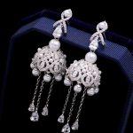 1pair Luxury Long Rhinestone Crystal Imitate Pearl Drop Dangle Earrings Chain For Bridal <b>Wedding</b> Prom Party Women <b>Jewelry</b> Gifts
