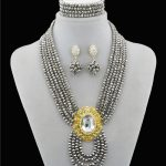 Glamorous! <b>Silver</b> Crystal Six Row Gem Nigerian Wedding African Beads Jewelry Set women's first choice