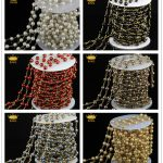 Wholesale Rosary Chain,Round Glass Pearl Craft <b>Handmade</b> Beads,Bronze Plated Wire Wrapped Connector Chain Necklace Finding JD0146