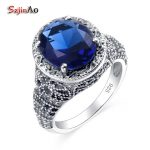 Szjinao Russia Victoria Skull Rings For Women Sapphire Vintage Round Sapphire 100% 925 Sterling <b>Silver</b> <b>Jewelry</b> Wholesale