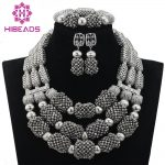 <b>Silver</b> African Beads Jewelry Set <b>Silver</b> Crystal Bride Nigerian Wedding Women Costume Jewellery Set 2017 Free Shipping WD619