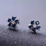 natural sapphire stone <b>earrings</b> 925 <b>silver</b> Natural gemstone <b>earring</b> for women personality Flowers <b>Earrings</b> for annivesary