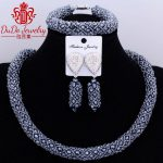 Trendy Dubai Black <b>Silver</b> Jewelry Set African Jewelry Set Nigerian Wedding Necklace Set of Beads for Brides Indian Jewelry Set