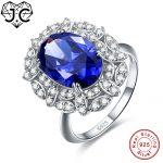 J.C Oval Cut Sapphire & Rainbow White Topaz Solid 925 Sterling <b>Silver</b> Ring Size 6 7 8 9 Elegant Women Anniversary Fine <b>Jewelry</b>
