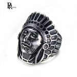 PJ <b>Jewelry</b> Men's Stainless Steel Vintage <b>Native</b> <b>American</b> Indian Punk Skull Black Silver Classic Ring US Size 8 9 10 11 12