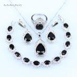 L&B Wonderful Black crystal <b>silver</b> color 925 logo Jewelry For Women <b>Bracelet</b>/Necklace/Pendant/Earrings/Ring jewelry sets