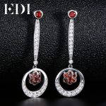 EDI Classic 100% Natural Garnet 925 <b>Sterling</b> <b>Silver</b> Drop Earrings Female European Style Fine <b>Jewelry</b>