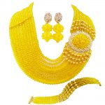 Best selling ! New Yellow Crystal Costume Nigerian African <b>Wedding</b> Beads <b>Jewelry</b> Necklaces Set NC1265