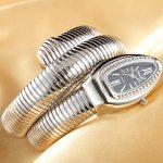 CUSSI 2018 Brand Luxury Serpentine Womens Watches <b>Silver</b> Quartz Wristwatches Ladies <b>Bracelet</b> Watch Snake Clock Reloj Mujer Gifts