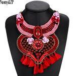 Naomy&ZP Beaded Tassel Maxi Necklace Gypsy Ethnic Bohemian Big Flower Collar Statement Necklace Women Fashion <b>Jewelry</b> <b>Handmade</b>