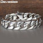 Davieslee 15mm <b>Silver</b> Color Curb Cuban Link Men's Bracelet 316L Stainless Steel Wristband Male <b>Jewelry</b> DLHB164