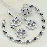 Flower 925 <b>Silver</b> Jewelry Black Cubic Zirconia White CZ Wedding Jewelry Sets For Women Earrings/Pendant/Necklace/<b>Bracelet</b>/Ring