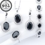 Black Zirconia Silver 925 Costume <b>Jewelry</b> Sets Charms Bracelets Necklace Pendant Stones Earrings Rings For Women Set Gift Box