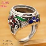 Hot 100% 925 Sterling Silver Ring Blank <b>Jewelry</b> Fit Oval 14*19mm Royal Cloisonne Vintage Ring Base Tray for DIY <b>Handmade</b>