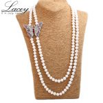 Natual real pearl bead necklace long pearl necklace <b>jewelry</b> for women,butterfly necklace sweater chain christermas gift