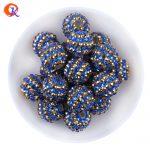 R195 20MM 100Pcs/Lot Fashion AB Shinny Navy Blue Resin Stripe Rhinestone Chunky Beads For <b>Handmade</b> Necklaces <b>Jewelry</b> CDWB-701090