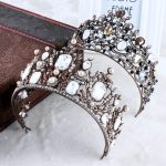 Vintage Crystal Beads Gold Tiara Headband Baroque Crown Crystal Rhinestone Tiaras Crowns Wedding Hair <b>Jewelry</b> Bridal Accessories
