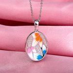RainMarch Enamel Silver Pendant For Women Necklace Authentic 925 Sterling Silver Necklace Pendant <b>Handmade</b> Enamel <b>Jewelry</b>