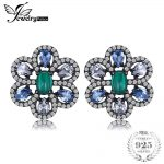 JewelryPalace Luxury 3.5ct Nano Russian Simulated Emerald Created Light Blue Spinel <b>Earrings</b> Black Gold 925